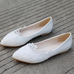 Femmes Similicuir Talon plat Bout fermé Chaussures plates avec Motif appliqué