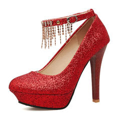 4deeb7576fb6 ... Women's Sparkling Glitter Stiletto Heel Pumps Platform Closed Toe With Buckle  Chain Tassel shoes ...