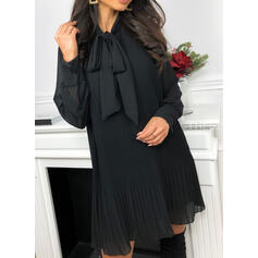 Solid Long Sleeves Shift Above Knee Little Black/Elegant Tunic Dresses