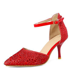 Women's Sparkling Glitter Stiletto Heel Sandals Pumps Closed Toe Mary Jane With Buckle shoes