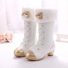 Flicka Stängt Toe Microfiber läder låg klack Stövlar Flower Girl Shoes med Bowknot Bandage Kristall