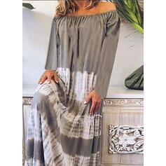 Print Long Sleeves Shift Casual/Elegant Maxi Dresses