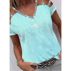 Print Sequins Cold Shoulder Short Sleeves Casual Blouses