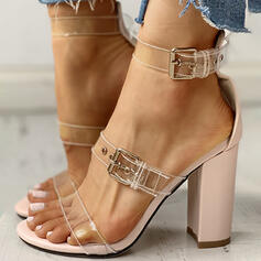 Women's PVC Chunky Heel Sandals Peep Toe With Buckle shoes