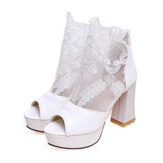 Women's Leatherette Chunky Heel Sandals Pumps Platform Peep Toe With Applique Hollow-out shoes
