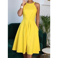 Solid Sleeveless A-line Casual/Elegant Midi Dresses