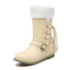 Femmes Similicuir Talon plat Chaussures plates Bout fermé Bottes Bottes mi-mollets Bottes neige avec Boucle Dentelle chaussures