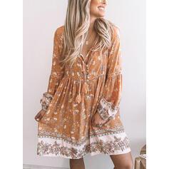 Print/Floral Long Sleeves Shift Knee Length Casual/Boho Tunic Dresses