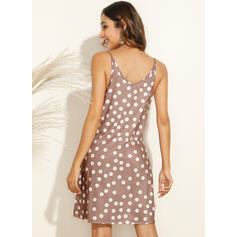 PolkaDot Sleeveless Shift Above Knee Casual/Vacation Slip Dresses