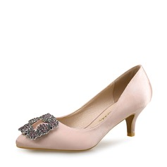 Women's Silk Stiletto Heel Pumps Closed Toe With Crystal shoes