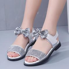 Fille de À bout ouvert similicuir Sandales Chaussures plates avec Velcro Cristal
