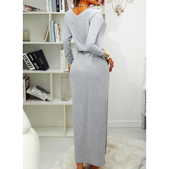 Solid Long Sleeves Sheath Casual Maxi Dresses