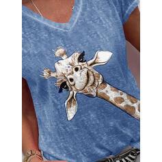 Estampado de animales Cuello en V Manga Corta Camisetas