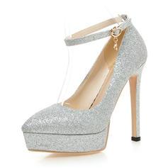 Women's Sparkling Glitter Stiletto Heel Pumps Platform With Sequin Buckle shoes