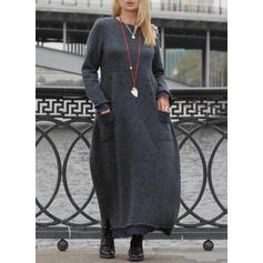 Jednolita Długie rękawy Koktajlowa Maxi Casual Sukienki