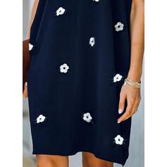 Imprimeu/Floral Mâneci Scurte De schimb Până la Genunchi Elegant Elbiseler