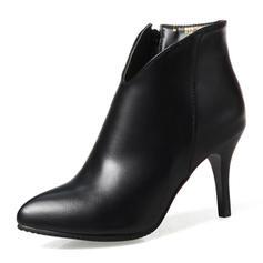 Femmes Similicuir Talon stiletto Bout fermé Bottes Bottines avec Zip chaussures