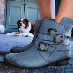 Donna PU Tacco spesso Martin boots con Fibbia scarpe