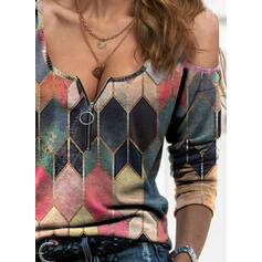 Geometric Print Cold Shoulder Long Sleeves Casual Sexy Blouses