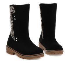 Women's Microfiber Leather Low Heel Boots With Others shoes
