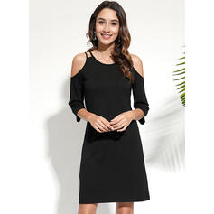 Solid Cold Shoulder Sleeve Sheath Above Knee Casual Dresses
