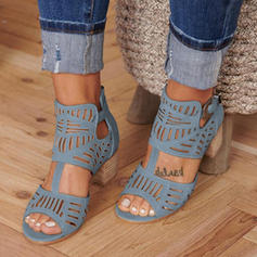 De mujer PU Tacón ancho Sandalias Salón Encaje con Hebilla zapatos