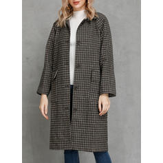 Polyester Long Sleeves Houndstooth Wide-Waisted Coats