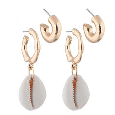 Stylish Simple Shell Alloy Women's Earrings (4 pieces)