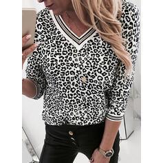 Leopard V-hals 3/4 ærmer Casual Skjorter