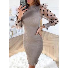 Print Stand Collar Casual Long Sweater Dress