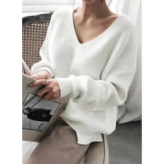 Egyszínű Bordázott V-nyak πουλόβερ