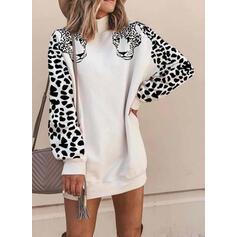 Dierenprint/luipaard Lange Mouwen Shift Boven de knie Casual Sweatshirts Jurken