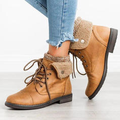 Women's PU Low Heel Boots With Lace-up shoes