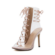 Women's PVC PU Stiletto Heel Sandals Pumps Peep Toe Slingbacks With Lace-up shoes