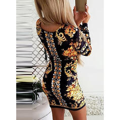 Print/Floral Long Sleeves Bodycon Above Knee Vintage/Party/Elegant Dresses