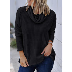 Solid Cowl Neck Long Sleeves Casual Blouses