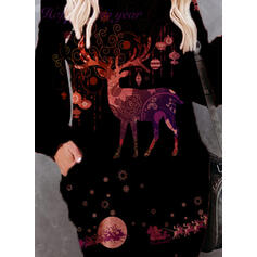 Animal Print Long Sleeves Shift Knee Length Christmas/Casual Sweatshirt Dresses