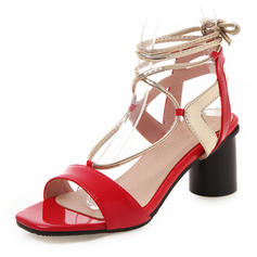 Kvinder Patenteret Læder PU Stor Hæl sandaler Pumps Kigge Tå Slingbacks med Blondér sko