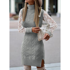 Cable-knit Chunky knit Lace Turtleneck Casual Long Sweater Dress