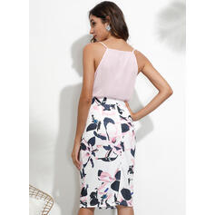 Print/Floral Sleeveless Bodycon Knee Length Casual Slip Dresses