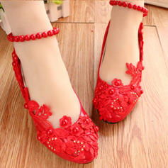 Women's Leatherette Low Heel Closed Toe Pumps With Imitation Pearl Stitching Lace Flower Chain