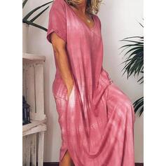 Druck/Tie Dye Kurze Ärmel Etuikleider Lässige Kleidung Maxi Kleider