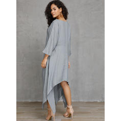 Solid 3/4 Sleeves Shift Asymmetrical Casual Dresses