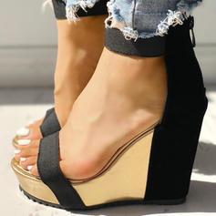 Women's PU Wedge Heel Sandals Peep Toe shoes