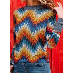 Geometric Print Round Neck Long Sleeves Casual Knit Blouses