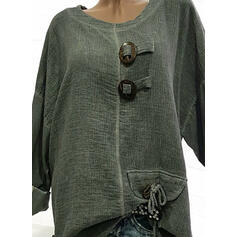 Solid Round Neck Long Sleeves Button Up Casual Knit T-shirts