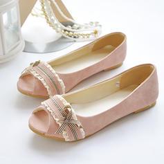 Kvinnor Konstläder Flat Heel Sandaler Platta Skor / Fritidsskor Peep Toe med Bowknot skor