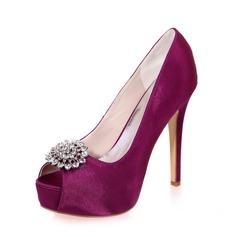 Women's Satin Stiletto Heel Peep Toe Sandals With Rhinestone