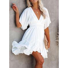 Solid 1/2 Sleeves A-line Above Knee Little Black/Casual/Elegant Skater Dresses