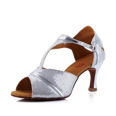 Women's Latin Sandals Sparkling Glitter With T-Strap Latin